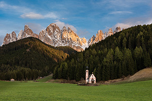Small chapel in Italy's Dolomite mountains