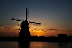 Sunset at Kinderdijk windmills Holland