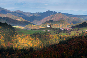 Autumn colors pop on Slovenia landscape