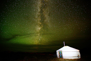 Yurt under night sky in Mongolia