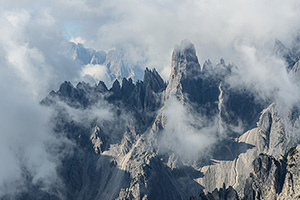 A break in the clouds in Italy's Dolomite mountains