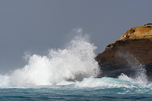 Waves crashing on Galapagos coast